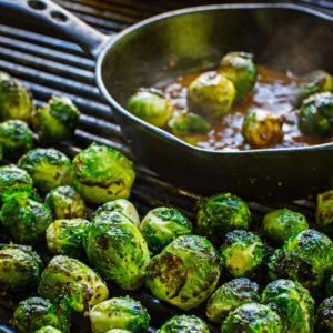 Grilled Brussels Sprouts with Warm Bacon and Mustard Vinaigrette