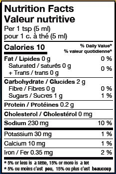 House Rub Nutritional Panel